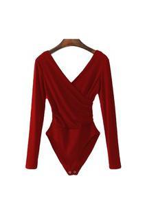 Body Blusa Feminina Transpassada Collant Com Elastano Vermelho