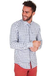 Camisa Lupim Slim Fit Xadrez Branco