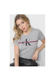 Camiseta Calvin Klein Jeans Issue Faixa Cinza
