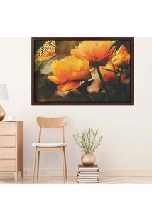 Quadro Love Decor Com Moldura Yellow Flowers Madeira Escura Grande