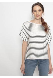 Blusa Listrada Com Fenda- Off White & Azul Marinholevis