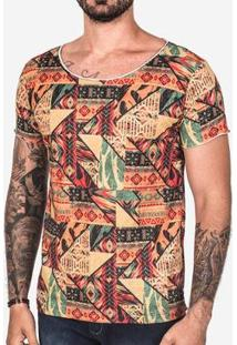 Camiseta Hermoso Compadre Étnica Gola Canoa Masculina - Masculino-Laranja