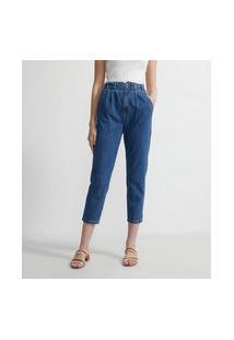 Calça Mom Jeans Com Elástico No Cós E Pregas