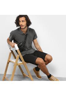 Camisa Polo Drezzup Estonada Masculina - Masculino-Cinza