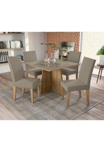 Conjunto De Mesa De Jantar Com Tampo De Vidro E 4 Cadeiras Lótus Suede Bege E Freijó