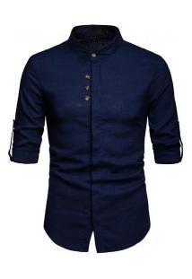 Camisa Masculina Gola Mandarim Design Abotoado Frontal Manga Longa - Azul Escuro