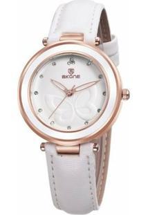 Relógio Skone Analógico 9294 - Feminino-Branco