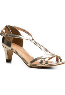 Sandália Shoestock Salto Cone Metalizada - Feminino-Dourado