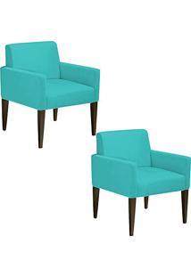 ... Kit 02 Poltronas Decorativa Dani Para Sala E Recepção Suede Azul Tiffany  - D Rossi 4d85541af9