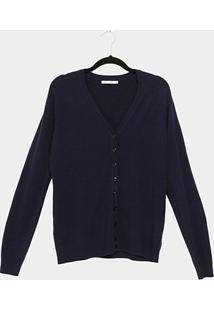 Blusa Cardigan Tricot City Lady Plus Size Feminina - Feminino-Marinho