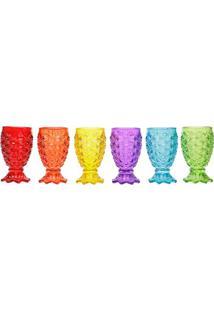 Jogo De Taças Para Água Pineapple- Colorido- 6Pçs