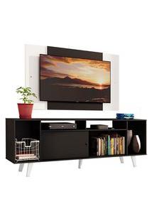 Rack Madesa Cancun E Painel Para Tv Até 58 Polegadas Com Pés - Preto/Branco 8Nc7 Preto