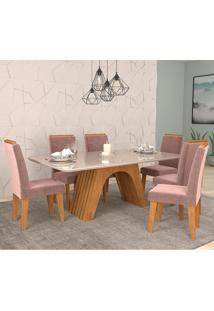 Conjunto De Mesa Clara Para Sala De Jantar Com 6 Cadeiras Taís Moldura -Cimol - Savana / Offwhite / Rose