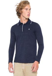 Camisa Polo Malwee Reta Logo Azul-Marinho