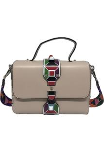 Bolsa Sys Fashion Casual Alça Colorida 8306 Bege