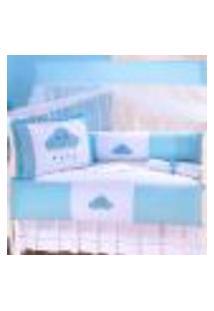 Enxoval De Berço Nuvem Azul Menino Bordado 10 Peças Americano
