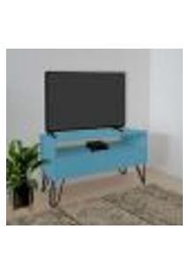 Rack Para Tv Bancada Com Nicho E Gaveta Pés Hairpin Legs Estilo Industrial Azul Laca