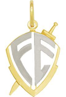 Pingente Prata Mil Escudo Vazado Fé Com Ródio Dourado