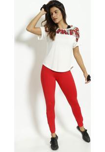 Blusa De Estrelas Com Microfuros - Off White & Vermelhamorena Rosa