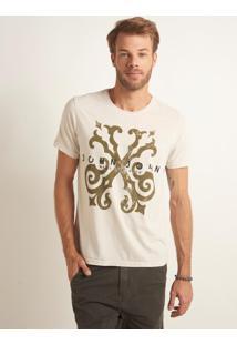 Camiseta John John Rg Hard Logo Oliva Malha Off White Masculina (Off White, Gg)