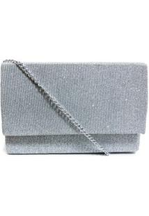 Bolsa Clutch Textura Tecido Brilhoso - Prata