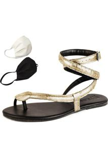 Sandalia Rasteira Mercedita Shoes Cobra Ouro + Brinde