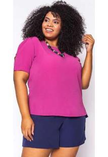 Blusa Almaria Plus Size Enois Crepe Botões Pink Rosa