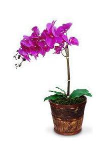 Arranjo De Flores Artificiais Orquideas Roxa Cachepot Madeira 55X20 Cm