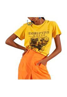 Camiseta Colcci Noise Amarelo Feminino