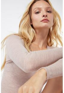 Blusa De Lã E Seda Com Decote Em V De Cetim Intimissimi Lã E Seda Bege