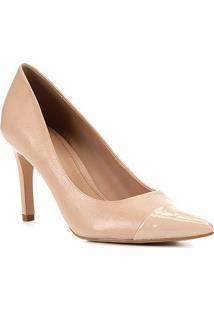 Scarpin Couro Shoestock Salto Alto - Feminino-Nude