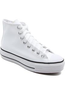 Tênis Converse Feminino Cano Alto Chuck Taylor All Star Hi Lift Branco/Preto/Branco Ct09820001 38 - Kanui