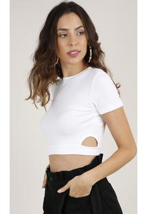 Blusa Feminina Cropped Canelada Com Vazado Manga Curta Decote Redondo Off White
