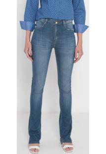 Jeans Skinny Bootcut Com Pérolas - Azuldudalina
