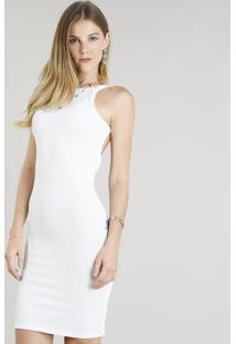 Vestido Feminino Cavado Com Lurex Branco