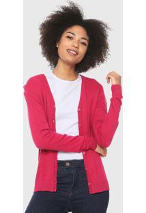 Cardigan Malwee Tricot Básico Rosa