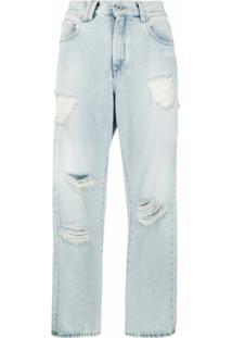 Off-White Calça Jeans Reta Com Detalhes Rasgados - Azul