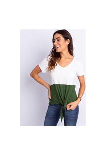 Blusa Feminino Bicolor Com Amarração Off White Com Verde