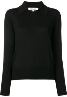 Diane Von Furstenberg Knitted Collar Top - Preto