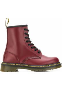 Dr. Martens Ankle Boot De Couro - Vermelho