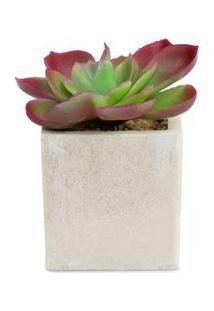 Vaso Com Suculenta Artificial Rosa De Pedra - Único