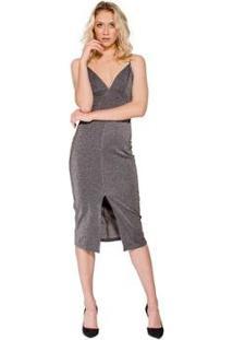 Vestido Midi Metalizado Colcci - Feminino-Cinza