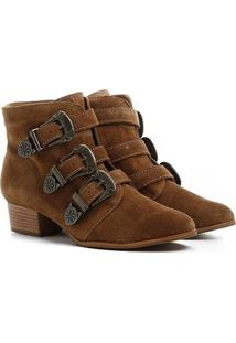 Bota Couro Shoestock Cano Curto 3 Fivelas Feminina
