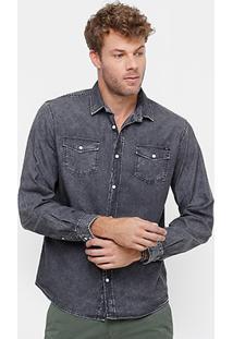 Camisa Jeans Colcci Stone Black Masculina - Masculino