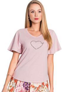 Blusa Rosa Antigo Com Pérolas Moda Evangélica
