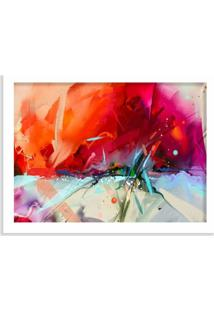 Quadro Decorativo Abstrato Pintura Vermelha Branco - Médio