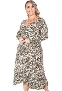 Vestido Midi Savana Marrom Plus Size