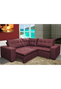 Sofa De Canto Retrátil E Reclinável Com Molas Cama Inbox Oklahoma 2,60M X 2,60M Suede Velusoft Vinho