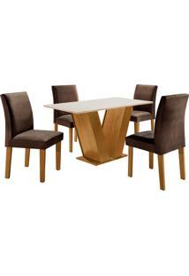 Conjunto De Mesa De Jantar Com 4 Cadeiras Classic Lll Suede Off White E Marrom