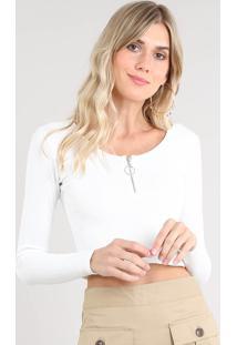 Blusa Feminina Cropped Com Zíper De Argola Manga Longa Decote Redondo Off White